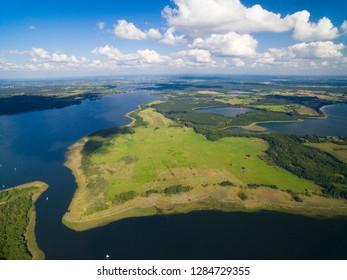 Aerial view of yachts sailing on Swiecajty Lake, Kal village (former Kehlen or Kielno, East Prussia), Mazury, Poland