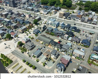Aerial view of Yamagata, Japan. Yamagata is a large prefecture along the Sea of Japan coast in the southern Tohoku.