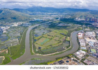 Aerial view of Yeun Long and nearby, New Territories Hong Kong