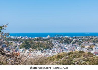 Aerial view of Yokosuka city in Kanagawa Prefecture, Japan.