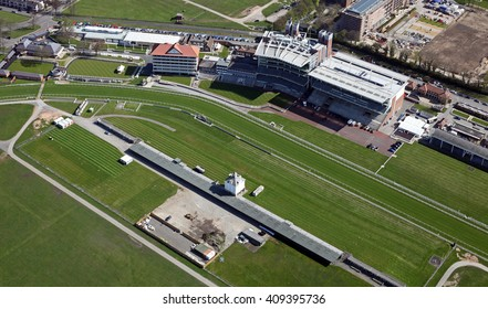 aerial view of York Racecourse, a horse racing track in Yorkshire, UK
