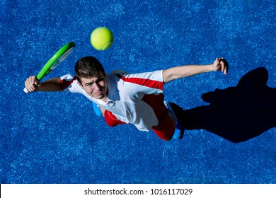 Aerial view of a young man playing paddle