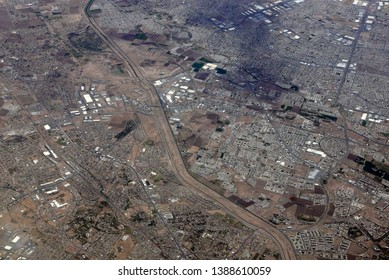 Aerial view of Yslet and part of Ciudad Juárez, divided by the US-Mexican border