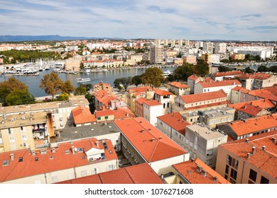 Aerial view of Zadar - famous historic Croatian city.