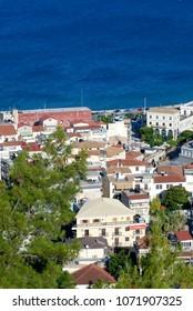 Aerial view of Zakynthos city in Zante island, in Greece 2016