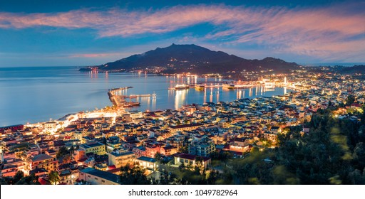 Aerial view of Zakynthos (Zante) town. Colorful spring morning on the Ionian Sea. Beautiful cityscape panorama of Greece city. Traveling concept background. Artistic style post processed photo.
