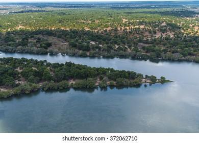 Aerial view of the Zambezi River, Zimbabwe, Africa