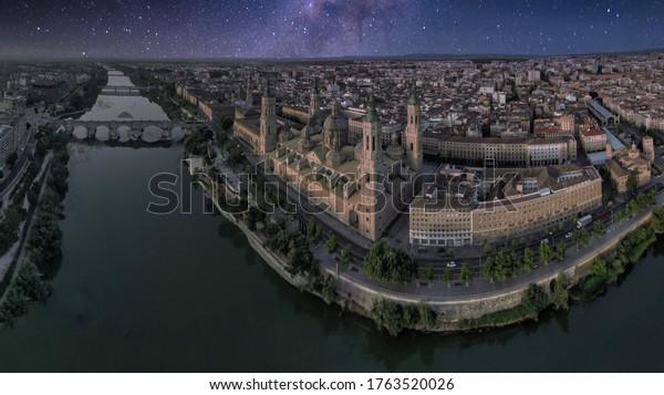 Aerial view in Zaragoza, city of Aragon,Spain. Drone photo