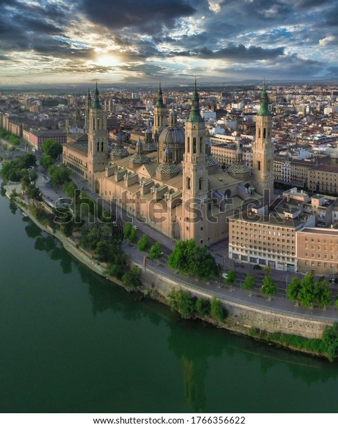 Aerial view in Zaragoza, city of Aragon,Spain. Drone photo