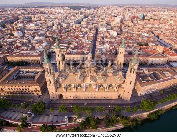 Aerial view in Zaragoza, city of Spain. Drone Photo