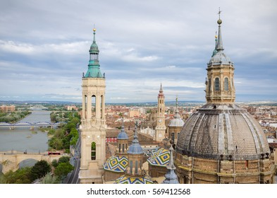 Aerial view of Zaragoza cityscape, Top view of the domes and roof tiles from the tower of Cathedral-Basilica of Our Lady of the Pillar, Zaragoza, province Aragon, Spain