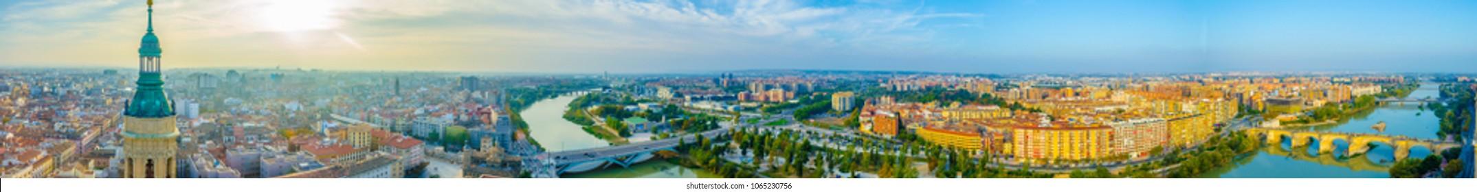 Aerial view of Zaragoza, Spain
