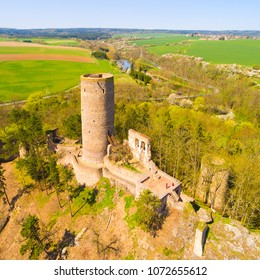 Aerial view of Zebrak Castle. A ruin of a Gothic castle originated in the 13th century. Since 1336 a royal castle, enlarged by Kings Charles IV. Czech famous monument from above.