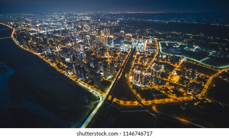 Aerial View of Zhubei City - City, Building, Real estate concept image. Birds eye view use the drone, shot in Zhubei City, Hsinchu, Taiwan.