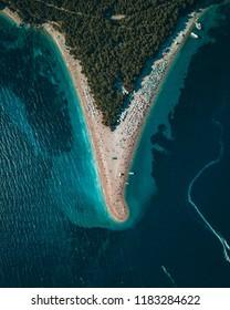 Aerial view of Zlatni Rat (Golden Horn) beach in Croatia