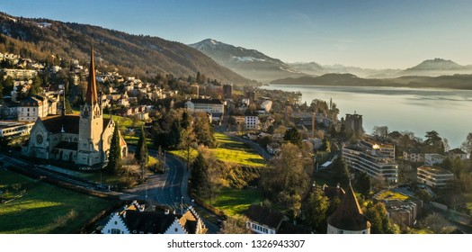 Aerial view of Zug, Switzerland