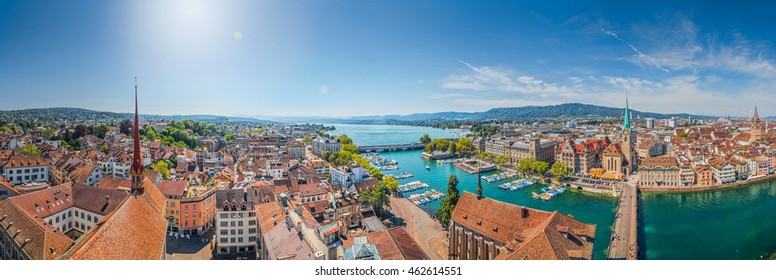 Aerial view of Zurich city center with famous Fraumunster Church and river Limmat at Lake Zurich from Grossmunster Church on a beautiful sunny day with blue sky in summer, Canton Zurich, Switzerland