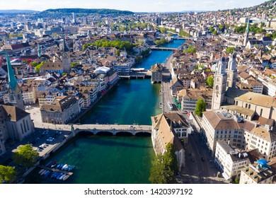 Aerial view of Zurich  city in Switzerland