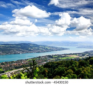 The aerial view of Zurich City from the top of Mount Uetliberg