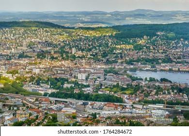 Aerial view of Zurich from Uetliberg mountain, Switzerland