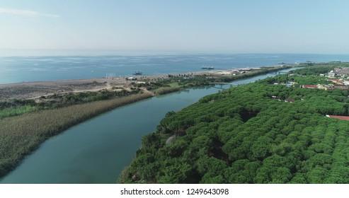 Aerial view/'Belek' tourism facilities and view of 'Acisu' Stream /Antalya-TURKEY