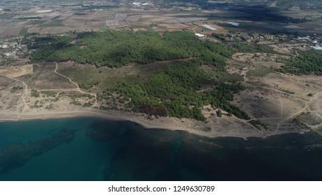 Aerial view/General view of 'Belek' beach and Mediterranean coastline in the Antalya-TURKEY