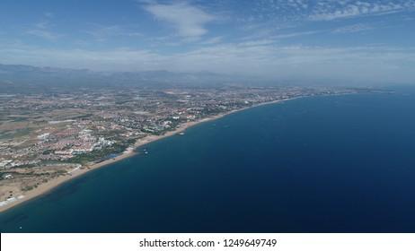 Aerial view/General view of Belek beach and Mediterranean coastline in the Antalya-TURKEY
