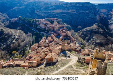 Aerial views of Albarracín in Aragon County, Spain