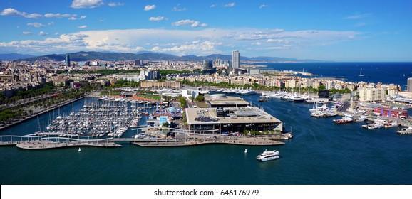 Aerial views of Barcelona, Catalonia