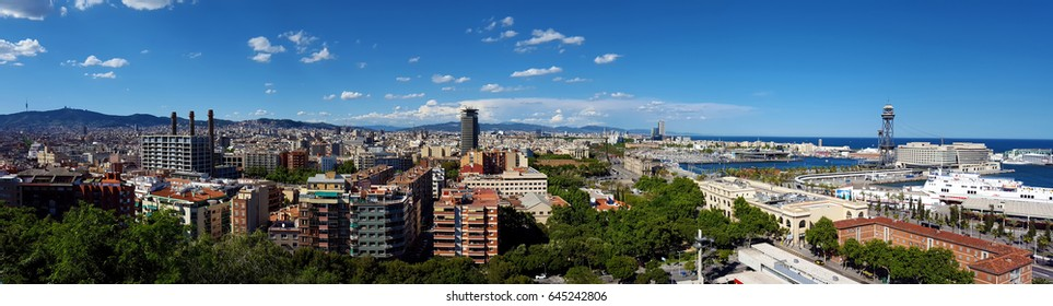 Aerial views of Barcelona city , Catalonia