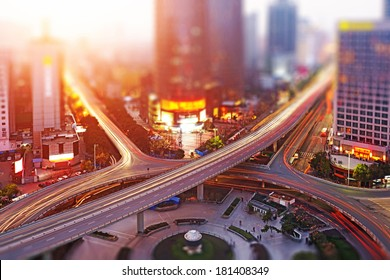 Aerial views of the city with tilt-shift effect