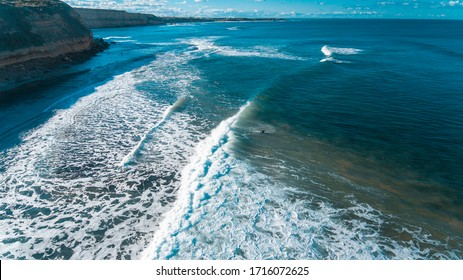 Aerial Views of Coastline and waves and beaches along the Great Ocean Road, Australia