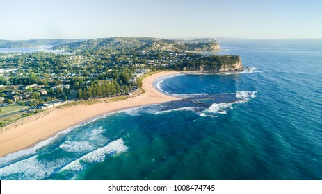 Aerial views drones swimming pool at Mona Vale beach