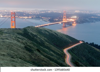Aerial views of the Golden Gate Bridge from Slacker Hill near Sausalito. Marin Headlands, California, USA.