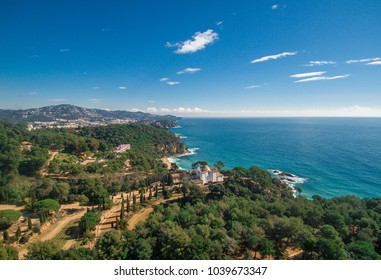 Aerial views of the Hermitage of santa Cristina Lloret de Mar. Place located in the Costa brava. Here you can see all the beaches in the area