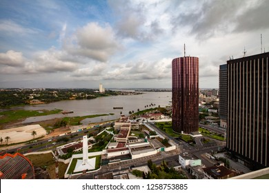 Aerial Views of the Ivory Coast's economic capital of Abidjan at sunset