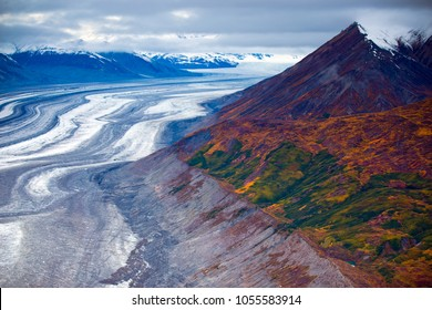 Aerial views of Kluane National Park and Reserve, home to Canada's largest ice field and highest mountain (Mount Logan).  It is located about 100 miles from Whitehorse, Yukon Territories.