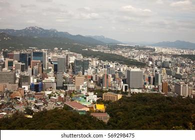 Aerial views of Seoul, South Korea