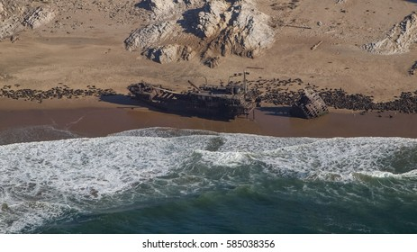 Aerial views of Skeleton Coast, Namibia