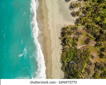 Aerial Views From the Tayrona Park beaches and jungle. Santa Marta, Colombia