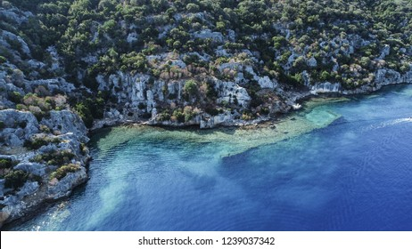 Aerial view/Turquoise seacoast in the 'Kekova town/Antalya-TURKEY