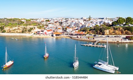 Aerial from the village Alvor in the Algarve in Portugal