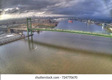 Aerial of Walt Whitman Bridge Looking Towards Center City Philadelphia
