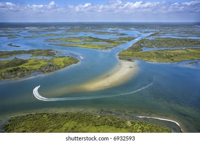 Aerial of wetlands at Cumberland Island National Seashore, Georgia.