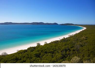 Aerial of Whitehaven Beach in the Whitsundays Australia
