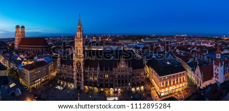 Aerial wide panorama of New Town Hall and Marienplatz at night Munich city, Bavaria, Germany
