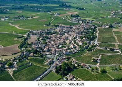 Aerial wiev Saint Emilion Vineyard landscape, Vineyard south west of France, Europe