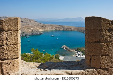 Aerial wiew on Lindou Bay from the Acropolis of Lindos. Rhodes island, Greece