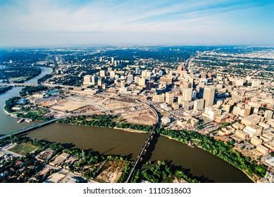 Aerial of Winnipeg, Manitoba, Canada
