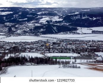 Aerial winter panorama of Lillehammer city in Norway.